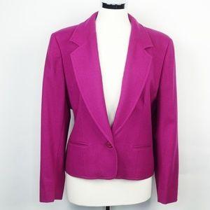 Pendleton Wool One Button Blazer Jacket Fuchsia